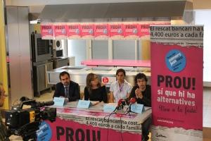 Roda de Premsa de la Festa del Comerç Just i la Banca Ètica amb Joaquim Llimona (Ajuntament de Barcelona), Anna Fernàndez (SETEM), Ada Zarate (Cooperativa Manduvirà de Paraguay) i Xavi Teis (FETS)